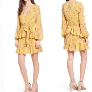 Love, Fire Yellow Floral Ruffle Wrap Dress S